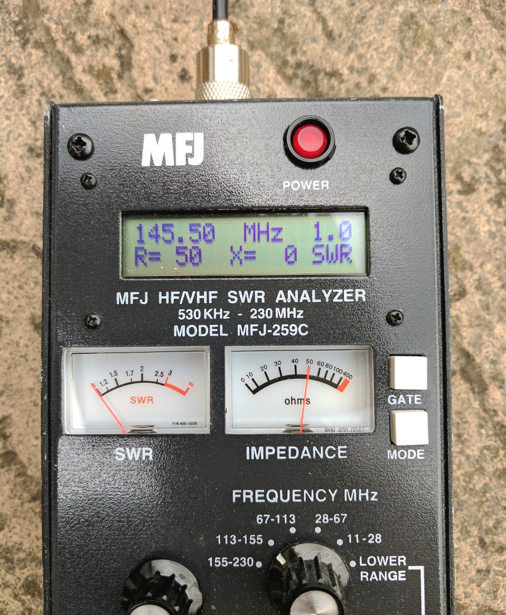 2m Quarter Wave Antenna on Analyser