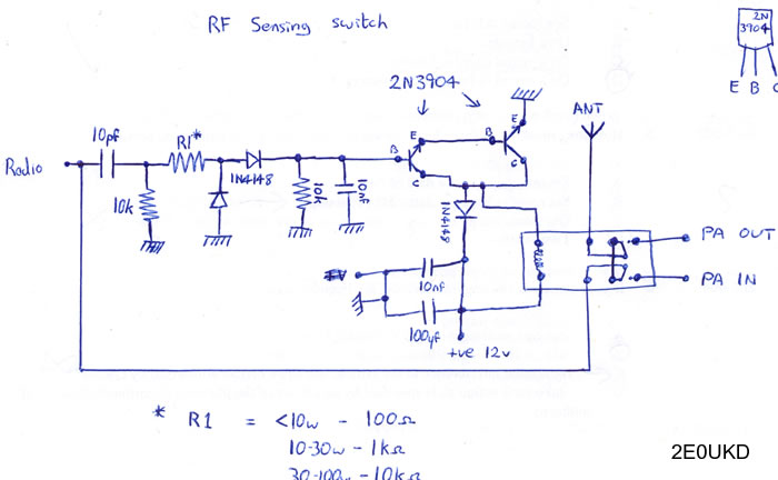 Schematic of RF sensing switch circuit.
