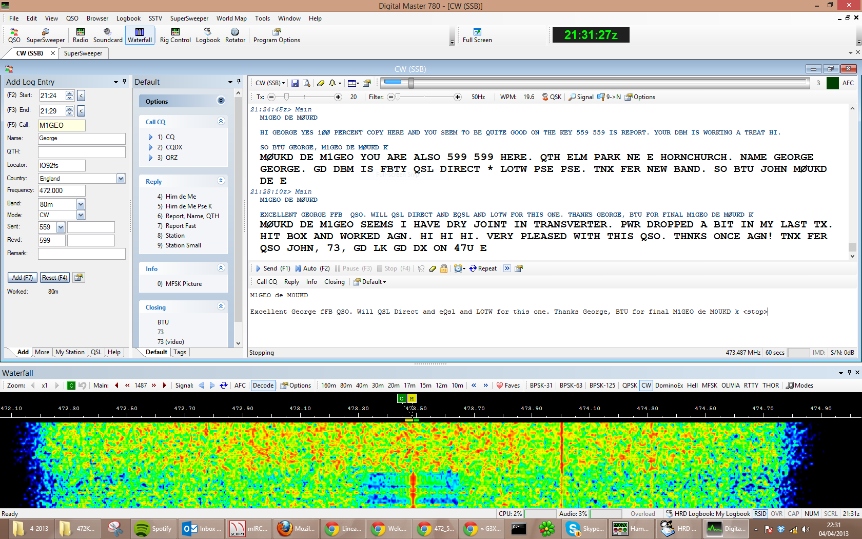 First QSO with M1GEO George at a distance of 2 miles!