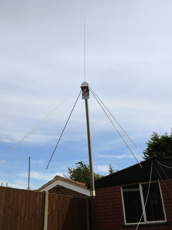 The antenna being tested in the garden.