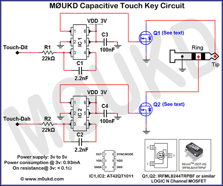Capacitive CW Touch Key Circuits MUKD Amateur Radio Blog - Wiring diagram telegraph key