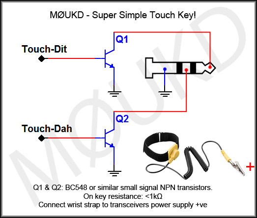 Super simple touch key circuit with wrist strap