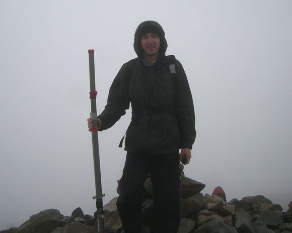 John, M0UKD on the highest point in England, Scafell Pike.