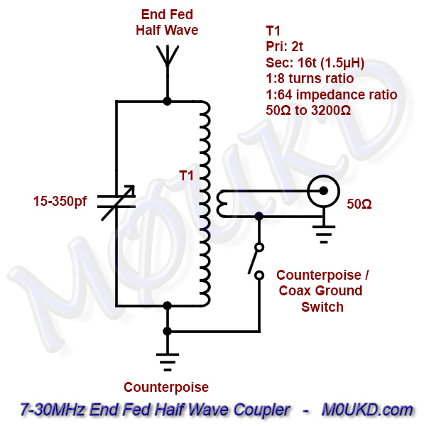 End Fed Half Wave Antenna Coupler Schematic – 7-30MHz