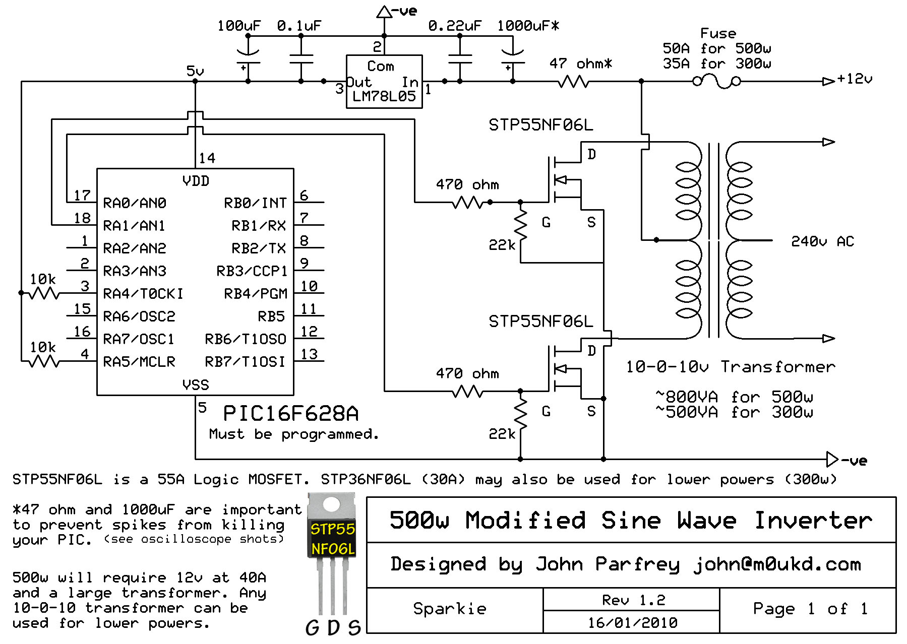 Pic Controlled 500w Modified Sine Wave Inverter M0ukd Amateur Oscillator Circuit Diagram Free Download Wiring Schematic