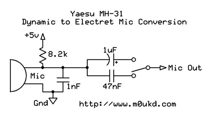 yaesu mh-31 electret condenser mic modification