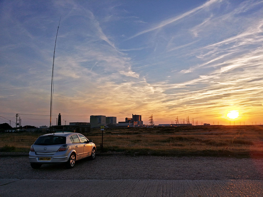 Parked up at Dungeness for some HF operating whilst watching the sun go down.