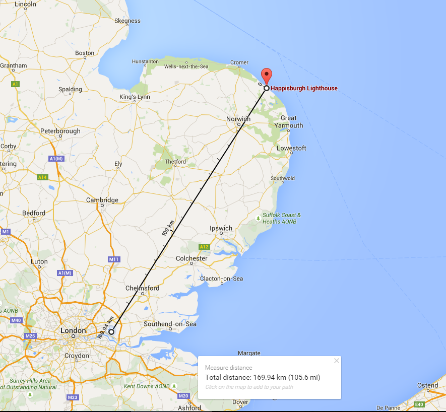 Happisburgh Lighthouse Distance Map
